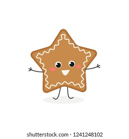 Funny cartoon gingerbread cookie in the shape of a star. Vector flat illustration isolated on white background