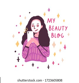 Funny cartoon girl with facial mask creating content for vlog or blog vector flat illustration. Female beauty blogger shooting video use smartphone isolated on white. Woman social media influencer