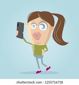 funny cartoon girl taking a selfie