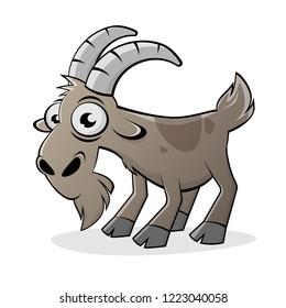 funny cartoon goat isolated vector illustration