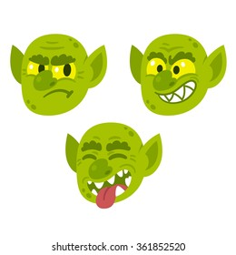 Funny cartoon goblin or troll face with different expressions. Vector character illustration.