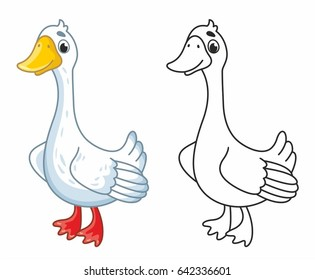 Funny cartoon goose. Vector illustration for kids. Goose in black outline