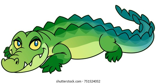Funny cartoon green crocodile, digital vector illustration.