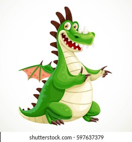 Funny cartoon green dragon isolated on a white background