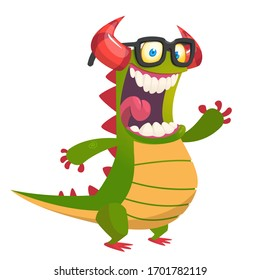 Funny cartoon green dragon wearing eyeglasses. Vector Halloween illustration