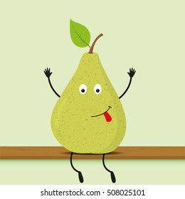 Funny cartoon green pear. Vector illustration