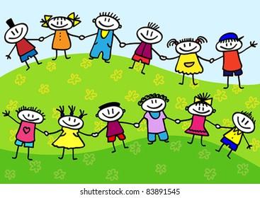 Funny cartoon group of children standing on a green grass