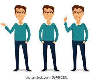 funny cartoon guy in casual clothes, gesturing