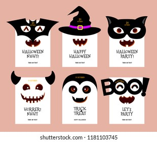Funny cartoon Halloween character design card. Bat, witch, black cat, monster, Dracula. Happy Halloween concept. Vector Illustration.