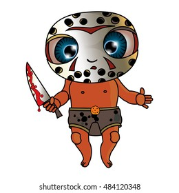 Funny Cartoon Hand Drawn Little Boy. Personage in Scary Carnival Costume with a Knife. Pumpkin, Horror Story Personage, on Isolated Background. Masc for Halloween. Little Monster for Card and Cover