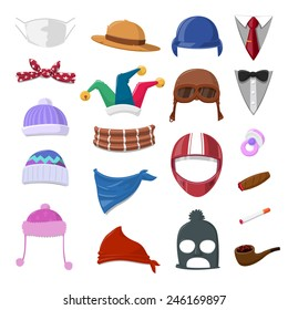 Funny Cartoon Hat set and object - vector illustration