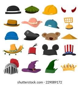 Funny Cartoon Hat set - vector illustration