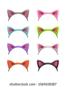Funny cartoon headbands with cat ears. Head decor for party time. Animal costume element. Head gears set.