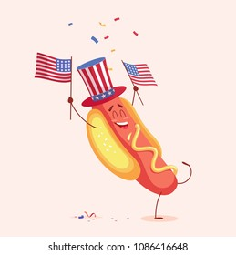 Funny cartoon hot dog holding usa flag. Vector illustration