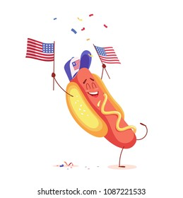 Funny cartoon hot dog holding usa flag. Vector illustration