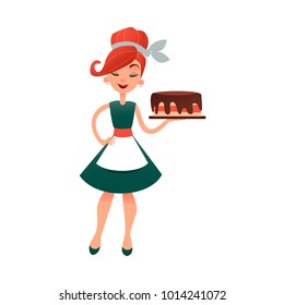 Funny cartoon housewife with cake. Happy vector homemaker with bakery product. Beautiful woman in old retro style. Young lady baking pie.