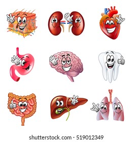 Funny cartoon human organs detailed realistic vector set