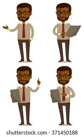 funny cartoon illustration of African American businessman