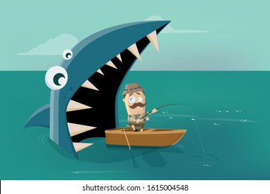 funny cartoon illustration of an angler in a boat with big shark behind