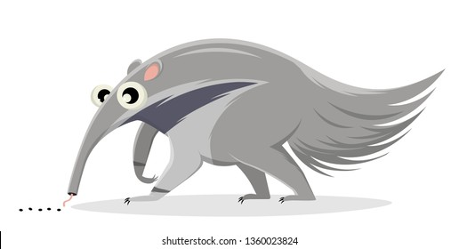 funny cartoon illustration of an ant-eater