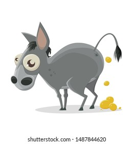 funny cartoon illustration of the backside of a donkey producing gold nuggets