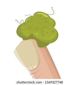 funny cartoon illustration of a booger on a finger