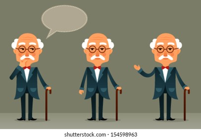 funny cartoon illustration of a cool senior man with walking stick
