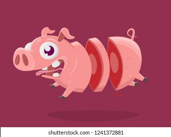 funny cartoon illustration of a crazy pig in slices