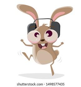 funny cartoon illustration of a crazy rabbit with headphones