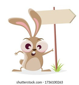 funny cartoon illustration of a crazy rabbit with important sign