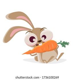 funny cartoon illustration of a crazy rabbit eating a big carrot