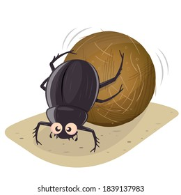 funny cartoon illustration of a dung beetle