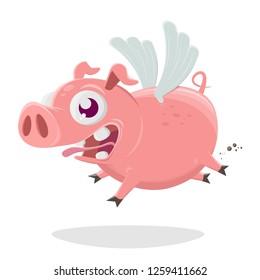 funny cartoon illustration of a flying pig