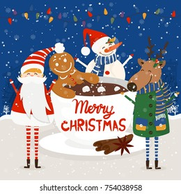 Funny cartoon illustration with gingerbread man in cup of hot chocolate and Santa Claus,deer and snowman. For holiday theme  on winter background. Greeting card for Merry Christmas .Vector