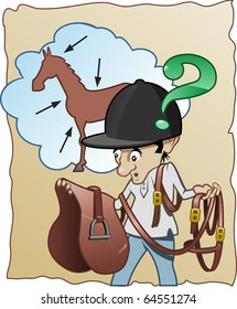 Funny cartoon illustration - An inexperienced horse-rider does not know how to prepare his horse for riding