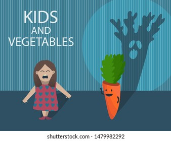 Funny cartoon illustration with little girl who afraid of vegetable character - orange carrot behind her with big ugly evil shade. Crying child don't like vegetables. Dark scary room. Creative concept