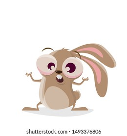 funny cartoon illustration of a questioning rabbit