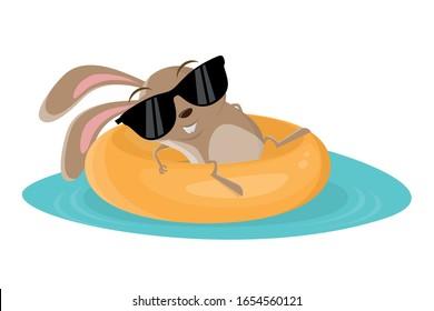 funny cartoon illustration of rabbit on a floating tire