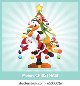 Funny cartoon illustration of santa claus, elf, Reindeer, snowman and red bird posing together as a Christmas tree. Each character is in separate layer.