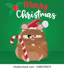 funny cartoon illustration of a stoned looking crazy hamster wishing a merry christmas
