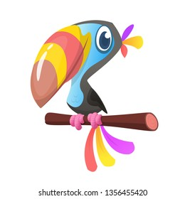 Funny cartoon illustration of toucan  sitting on the branch