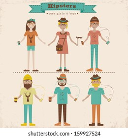 Funny cartoon illustration of young people with hipster fashion style. Hipster girls and boys set