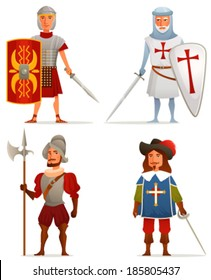 funny cartoon illustrations from ancient and medieval age - a Roman soldier, German crusader, Spanish conquistador and French musketeer