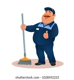 Funny cartoon janitor with mop and ok gesture. Smiling fat character in blue suit with broom. Happy flat cleaner in uniform from janitorial service or office cleaning. Colorful vector illustration.
