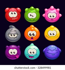 Funny cartoon  jelly round characters set, vector illustration, funny creatures kit for game design