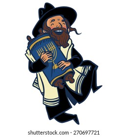 Funny cartoon jewish man dancing with Torah. Vector illustration isolated background