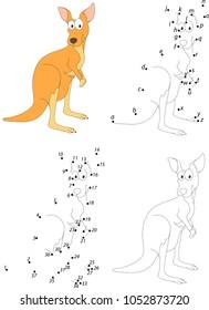 Funny cartoon kangaroo. Coloring book and dot to dot educational game for kids