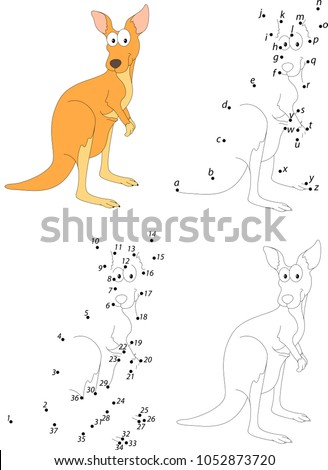 Funny Cartoon Kangaroo Coloring Book Dot Stock Vector Royalty Free