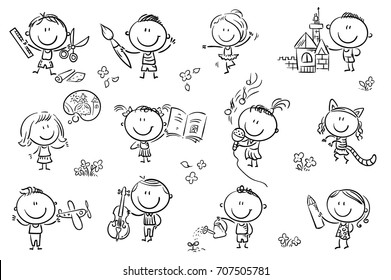 Funny cartoon kids engaged in different creative activities like drawing, singing, modelling and so on. No gradients used, easy to print and edit. Vector files can be scaled to any size.