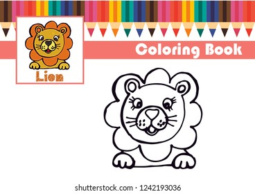 Funny Cartoon Lion Coloring Pages Children Stock Vector Royalty
